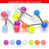 20 Pc (10 Pairs) Assorted Glow In Dark Balls Nipple Barbell Tongue Rings