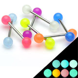 20 Pc Assorted Glow In The Dark Balls Barbell Tongue Rings