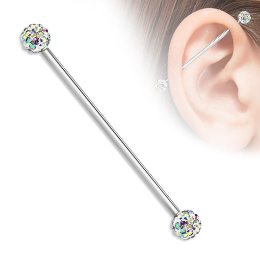Crystal Paved Ferido Balls Surgical Steel Industrial Barbells