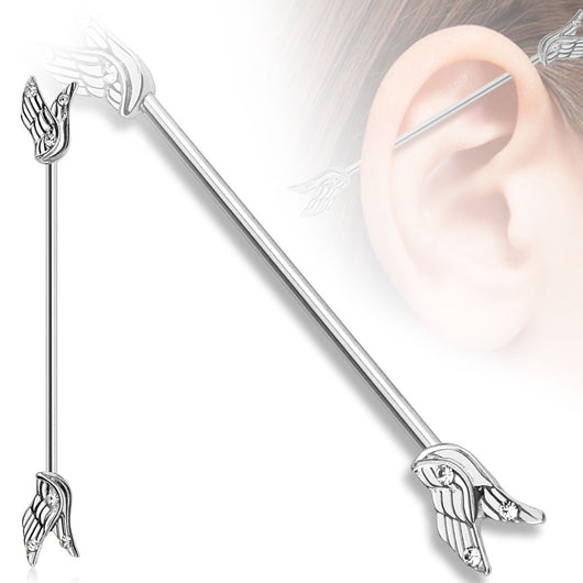 Split Angel Wings with CZ 316L Surgical Steel Industrial Barbell