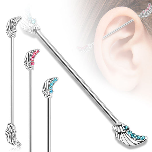 Angels Wings with CZ Surgical Steel Industrial Barbell