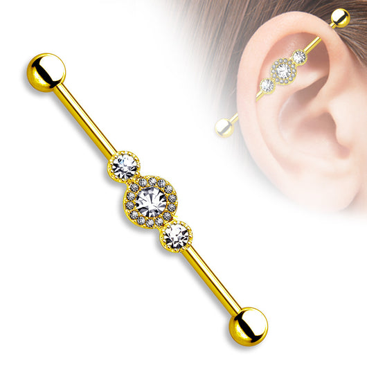Three CZ Centered Gold IP on Surgical Steel Industrial Barbell
