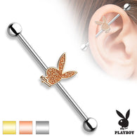 Sand Blast Sparkling Playboy Bunny Surgical Steel Industrial Barbells