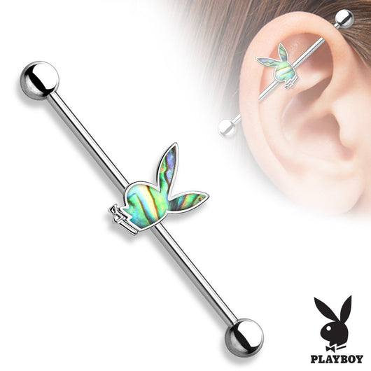 Abalone Inlaid Playboy Bunny Surgical Steel Industrial Barbells