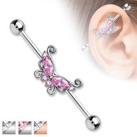 Marquise and Round CZ Butterfly Surgical Steel Industrial Barbells