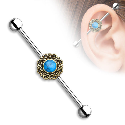 Turquoise Centered Heart Filigree Surgical Steel Industrial Barbell