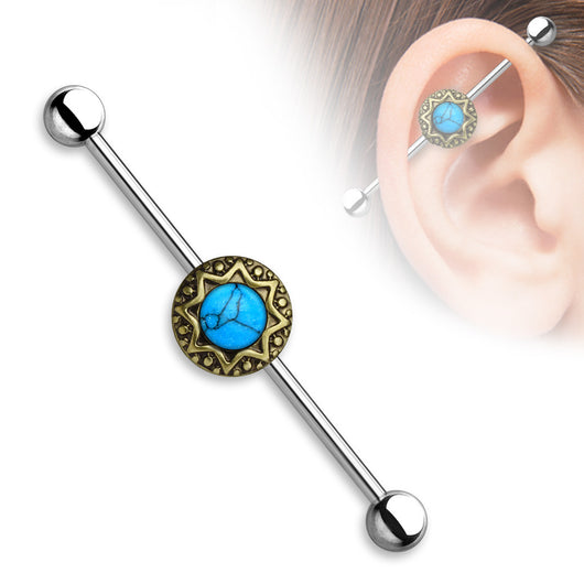 Turquoise Centered Round Tribal Starburst 316L Industrial Barbell