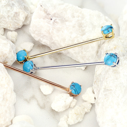 3 Pc Round Turquoise Stone Surgical Steel Industrial Barbells