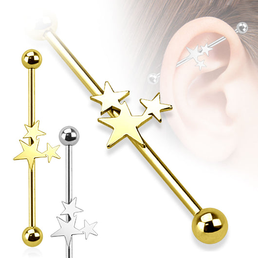 Three Stars 316L Surgical Steel Industrial Barbell