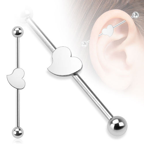 Heart 316L Surgical Steel Industrial Barbell