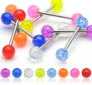 20 Pc (10 Pairs) Assorted UV Glitter Balls Nipple Barbell Tongue Rings