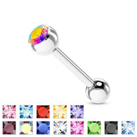 Basic Press Fit CZ Surgical Steel Barbell Tongue Rings