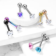 Prong Set 6 mm Heart Shape CZ Surgical Steel Tongue Ring Barbells