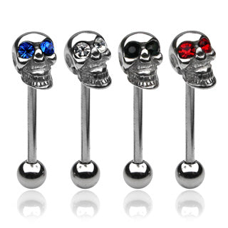 Skull With Gem Eye 316L Surgical Steel Barbell Tongue Ring