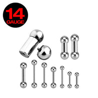 Basic Internally Threaded 316L Surgical Steel Barbell Tongue Ring 14GA