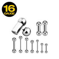 Basic Internally Threaded 316L Surgical Steel Barbell Tongue Ring 16GA