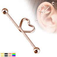 Hear Shape Surgical Steel Industrial Barbells