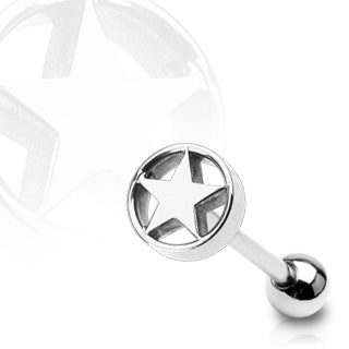 Star in Cylinder Top 316L Surgical Steel Barbell Tongue Ring