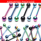 6 Pcs Assorted Titanium Barbell Tongue Rings 14GA 5/8""
