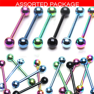 6 Pcs Assorted Titanium Barbell Tongue Rings 14GA 5/8