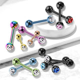 Press Fit CZ Ball Titanium IP Surgical Steel Barbell Tongue Rings