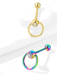 Slave Ring Top with CZ Gold And Rainbow Titanium Barbell Tongue Ring