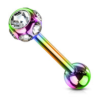 7 CZ Set Ball Rainbow Titanium Barbell Tongue Ring