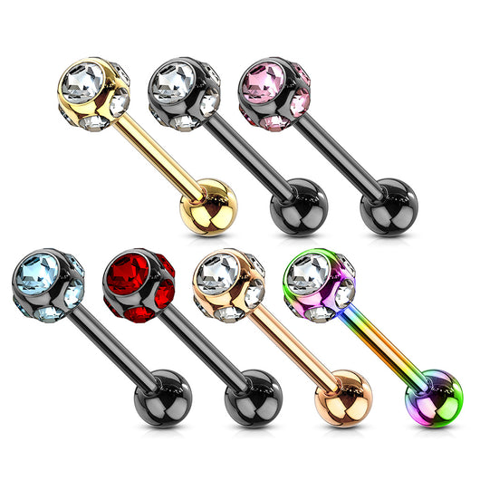 7 CZ Set Ball Assorted Titanium Barbell Tongue Rings