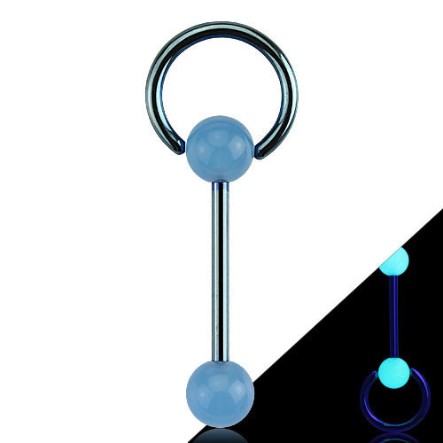 Slave Barbell Tongue Ring with Glow In The Dark Balls