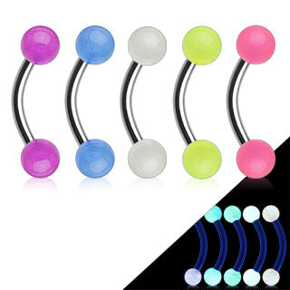 Glow in the Dark Balls 316L Surgical Steel Eyebrow Rings