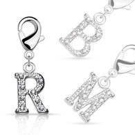 Clear Gem Paved Initial Charm For Navel Ring Bracelets Necklaces Earring