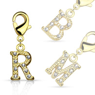 Clear Gem Paved Gold IP Initial Charm For Navel Ring Bracelets Necklaces Earring