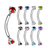 3 mm Prong Set CZ Top Curved Barbell Rook Daith Tragus Snug Eyebrow Rings