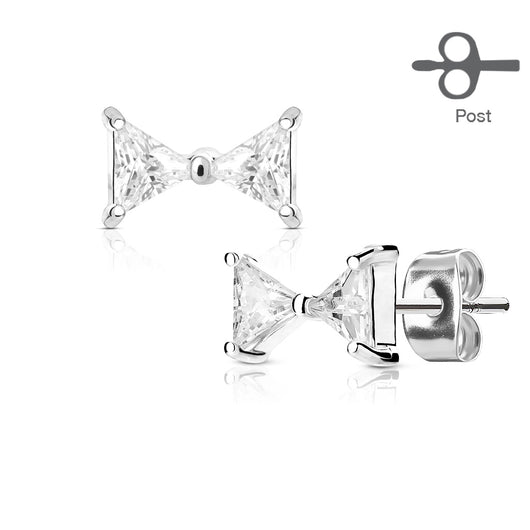 Pair of Triangle CZ Ribbon 316L Surgical Steel Stud Earring