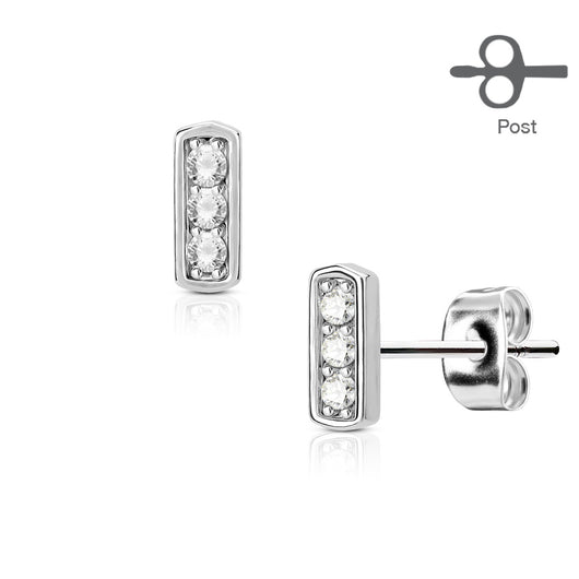 Pair of Three CZ Set Square Bar 316L Surgical Steel Stud Earring