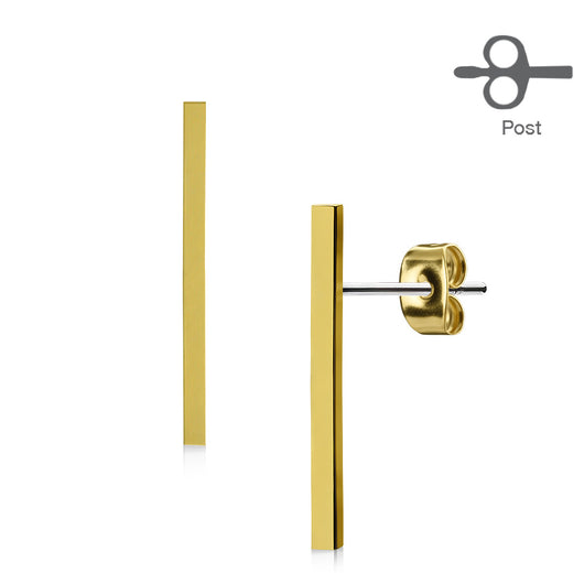 Pair of Plain Long Bar 316L Surgical Steel Stud Earring