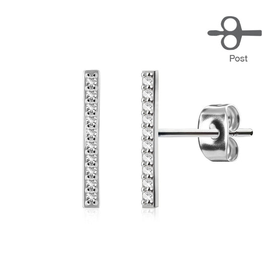 Pair of Micro Paved CZ Set Bar Surgical Steel Post Ear Stud Earring
