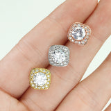 Pair of Large Round CZ Paved Square Earring Studs