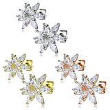 Pair of Double Tiered CZ Flower Post Earring Studs