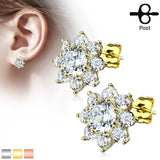 Pair of Round CZ Flower Surgical Steel Post Earring Studs