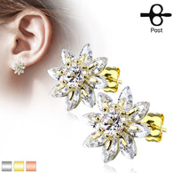 Pair of Marquise CZ Flower Surgical Steel Post Earring Studs