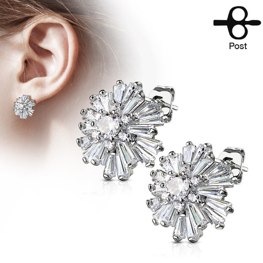 Pair of Double Tiered CZ Cluster Post Earring Studs