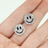 Pair of Double Paved Smiley Face Post Earring Studs