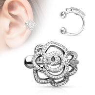 Rose With Paved Beads Rhodium Non Piercing Earring Cuff Tragus