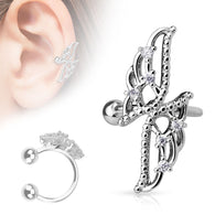Cross Wing With CZ Rhodium Non Piercing Earring Cuff Tragus