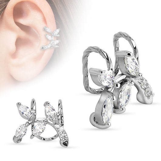 Branch With CZ Leaves Rhodium Non Piercing Earring Cuff Tragus