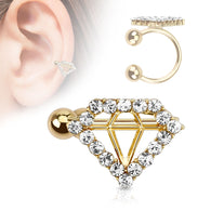 Diamond Shape Paved CZ Gold Plated Non Piercing Earring Cuff Tragus