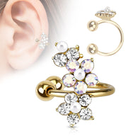 Flower Paved CZ Pearl Gold Plated Non Piercing Earring Cuff Tragus