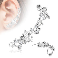 Prong Set Star Ear Cuff Cartilage Helix Tragus Ear Stud 20GA