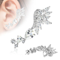 Flying Wings CZ Ear Cuff Cartilage Helix Tragus Ear Stud 20GA